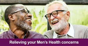 Web banner that says 'relieving your men's health concerns'